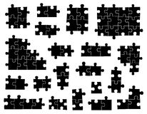 Set of different puzzle pieces Stock Image