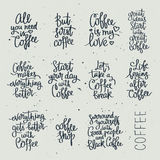 Set of different quotes about coffee Stock Photography