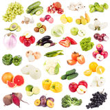 Set of different raw fruits and vegetables, isolated Stock Images