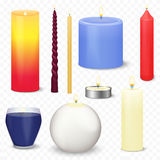 Set of different realistic 3d christmas candles  on the transparent alpha background.. Fire light flame candle Stock Images