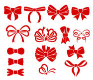Set of different red bows icons. Stock Images