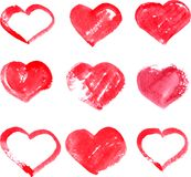 Set of different red heart painted by watercolor Stock Photos