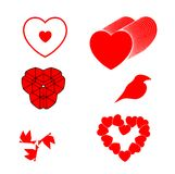 Set different red hearts bird and symbols Stock Photography
