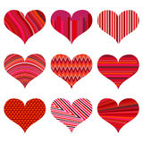Set of different red hearts. Nine hearts  on a white background Royalty Free Stock Photos