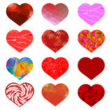 Set of Different Red Hearts. Stock Image
