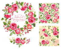 Set of different red, pink flowers, frame, decorative element an Stock Image