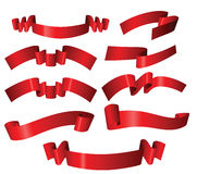 Set of different red ribbons Royalty Free Stock Photos