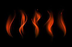 Set of Different Red Scarlet Fire Flame on Background. Vector Set of  Different Red Scarlet Fire Flame on Background Royalty Free Stock Photos