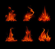 Set of Different Red Scarlet Fire Flame Bonfire. Vector Set of  Different Red Scarlet Fire Flame Bonfire   on Background Royalty Free Stock Image