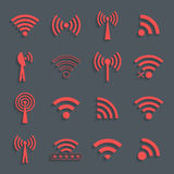 Set of different red vector wifi icons for communication and rem Royalty Free Stock Image