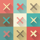 Set of different retro  crosses and tics Royalty Free Stock Photo