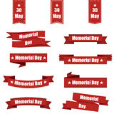 Set of different ribbons for memorial day america. Vector illustration Royalty Free Stock Photo