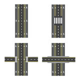 Set of different road sections with transitions, bike paths, sidewalks and intersections. illustration Royalty Free Stock Photography