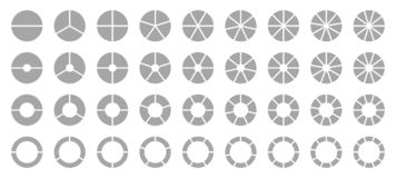 Set Of Different Round Graphic Pie Charts Gray stock illustration