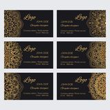 Set of different round ornaments and borders. Mandala business cards golden templates. Set of different round ornaments and borders royalty free illustration