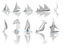 Set of different sailing ships icon(simple vector) Royalty Free Stock Image