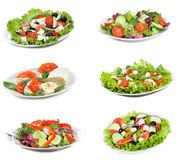 Set with different salads Royalty Free Stock Photography