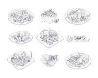 Set of different salads served on plates and in bowls hand drawn with contour lines on white background - Tabbouleh. Nicoise, Caesar, Waldorf, fruit Royalty Free Stock Image