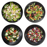 Set of Different Salads on White Background. Includes chicken caesar, garden, nicoise, and Greek Stock Photography