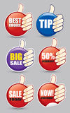 Set of different sale tags with thumb up Stock Photos