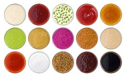 Set of different sauces isolated on white background, top view. With clipping path stock photos