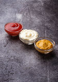 Set of different sauces: mustard, ketchup, mayonnaise. Royalty Free Stock Images