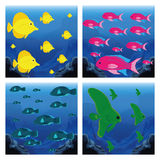 Set Of Different Scenes With Fishes Royalty Free Stock Images