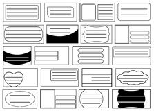 Set of different school notebook labels. On white Stock Photo