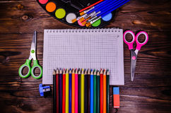 Set of different school stationeries. Notepad, scissors, pensils Stock Image