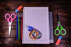 Set of different school stationeries. Notepad, scissors, pensils Stock Photos