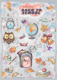 Set of different school subjects  backpack, paints, Globe and autumn leaves Stock Images