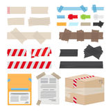 Set of Different Scotch Tape on White Background. Vector illustration can be used to stick documents, to protect box in post office, to fence dangerous Stock Photos