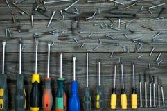 Set of different  screwdrivers and screws Stock Photos