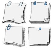 Set of different scribbled notepads with free space Stock Photos