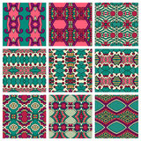 Set of  different seamless colored vintage Royalty Free Stock Photography