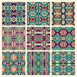 Set of different seamless colored vintage Royalty Free Stock Images
