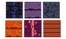 Flat vector set of 6 seamless textures and materials for mobile games. Brick, gem, solid stone and wood. Set of 6 different seamless textures and materials for royalty free illustration