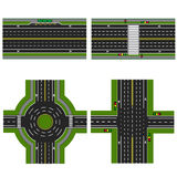 Set of different sections of the highway with a circular dvizheniemi, . Image sidewalks, transition lanes for Royalty Free Stock Images