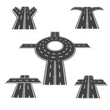 Set of different sections of the road with roundabout intersections, and a variety of different angles in the long term Stock Photos