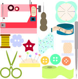 Set of different sewing tools Royalty Free Stock Image