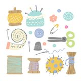 Set of different sewing tools made in pastel colors. Hand drawn illustration. vector illustration