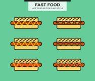 Set of different shape hotdog Stock Photos