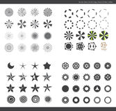 Set of different shaped symbols. Illustrated set of different shaped symbols with circles, bursts, cogs, gears and stars stock illustration
