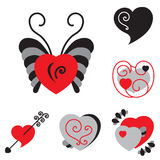 Set of Different Shaped Vector Heart Icons. For Valentines Day Royalty Free Stock Photos