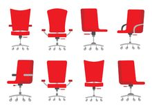 A set of different shapes and complete sets of office chairs of red color in flat style royalty free illustration