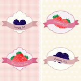 Set of different  shapes with strawberry and currant on two patterns backgrounds with polka dots and hearts. Stock Images