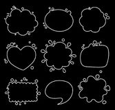 Set of different shapes of thought bubbles, round, oval, square. stock illustration