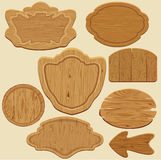 Set of different shapes wooden sign boards. Royalty Free Stock Image