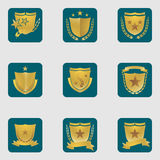 Set of different shield emblems Stock Photo