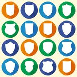 Set of different shield shapes icons royalty free illustration
